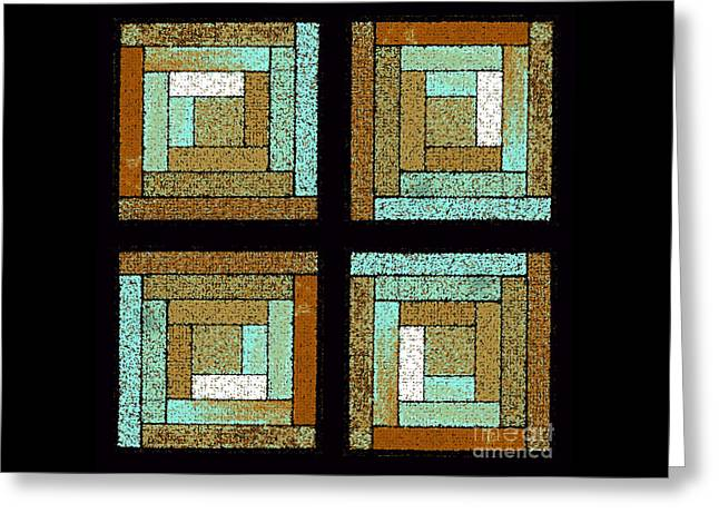 Earth And Sea Quilt Squares Greeting Card by Karen Adams