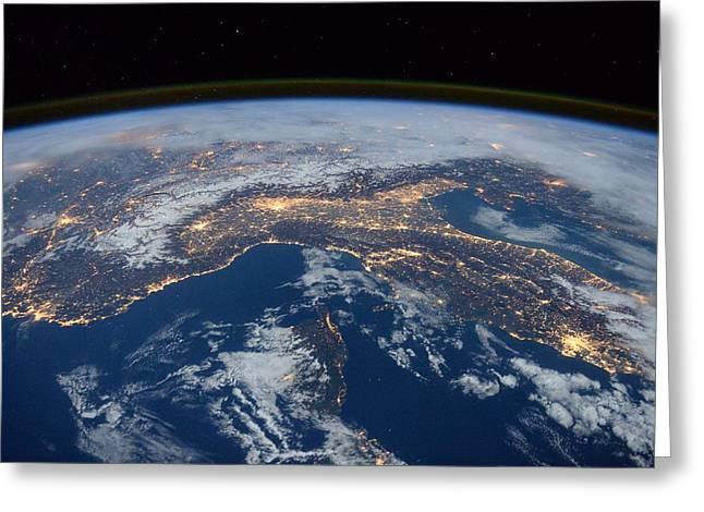 Earth At Night Greeting Card