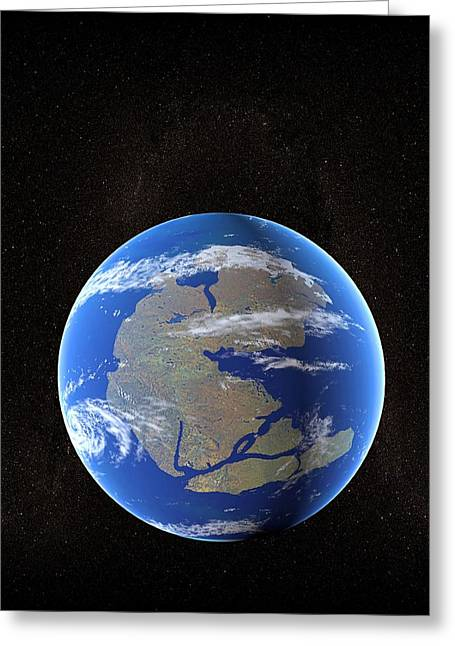 Earth At Time Of Pangea Greeting Card by Christian Darkin