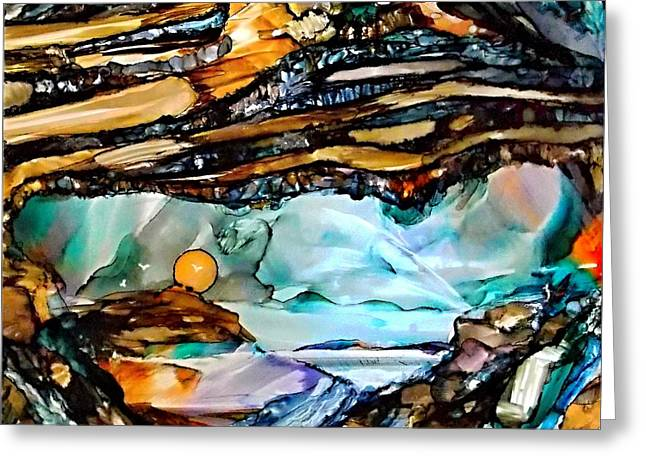 Earth Day Underground Paradise Alcohol Inks Greeting Card