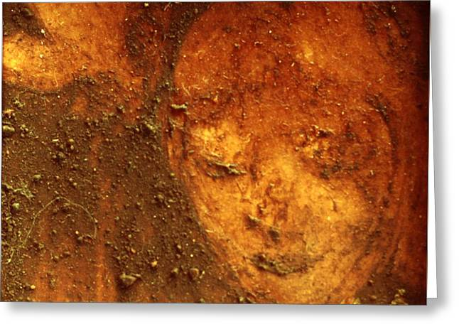 Greeting Card featuring the painting Earth Face by Winsome Gunning