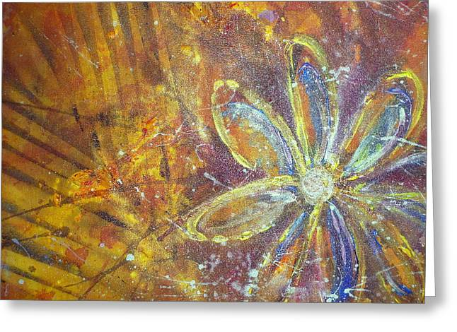 Greeting Card featuring the painting Earth Flower by Tracy Bonin