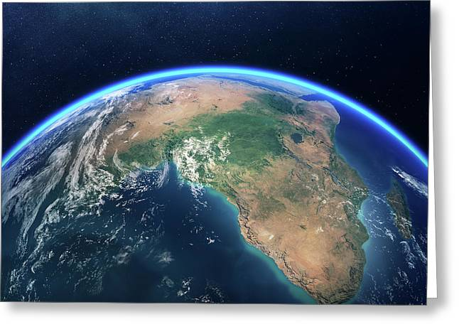 Earth From Space Africa View Greeting Card