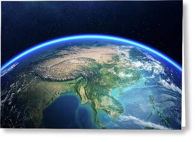 Earth From Space Asia View Greeting Card