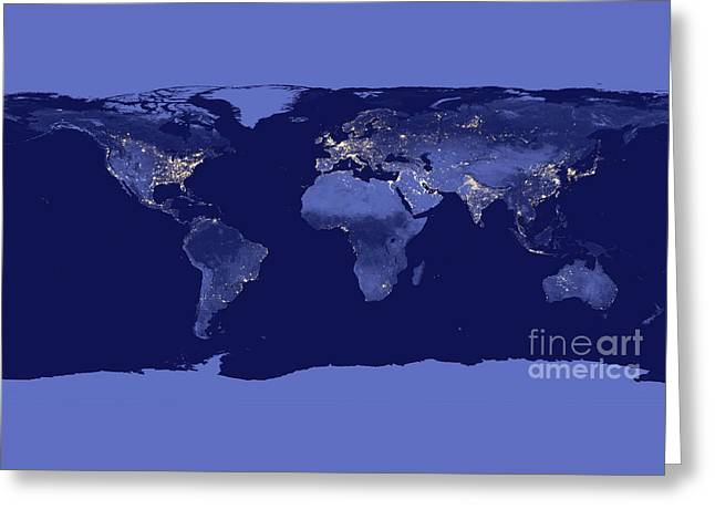 Greeting Card featuring the photograph Earth From Space by Delphimages Photo Creations