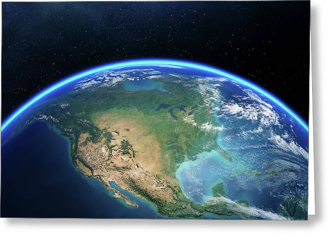 Earth From Space North America Greeting Card