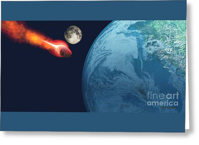 Earth Hit By Asteroid Greeting Card by Corey Ford