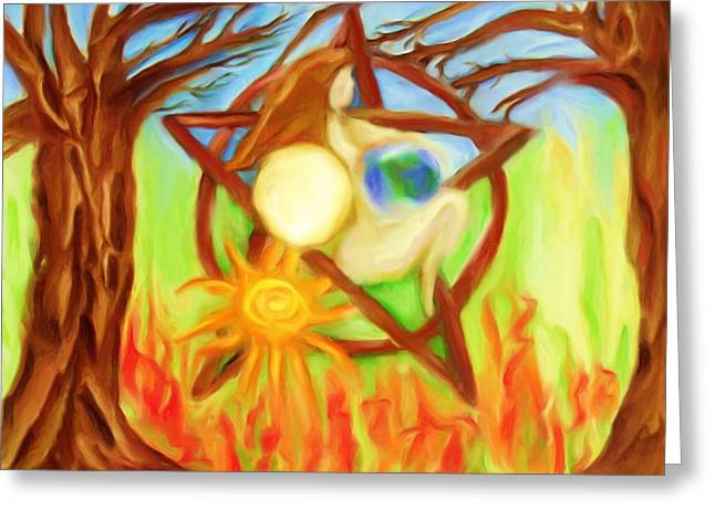Greeting Card featuring the painting Earth Mother Goddess by Shelley Bain