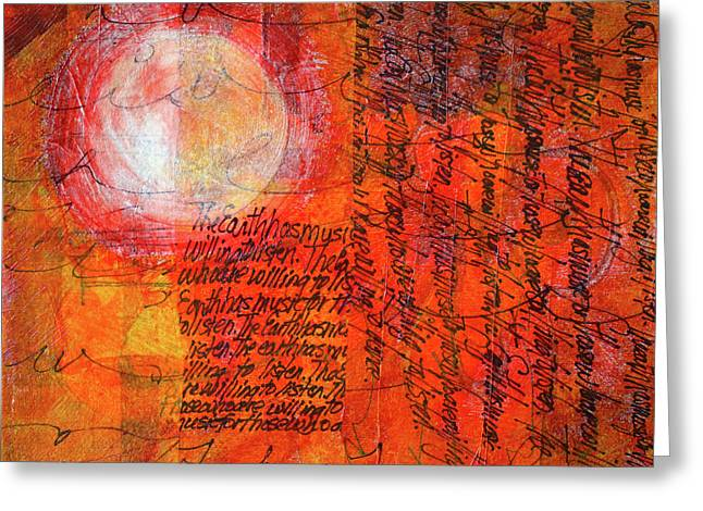 Greeting Card featuring the mixed media Earth Music by Nancy Merkle