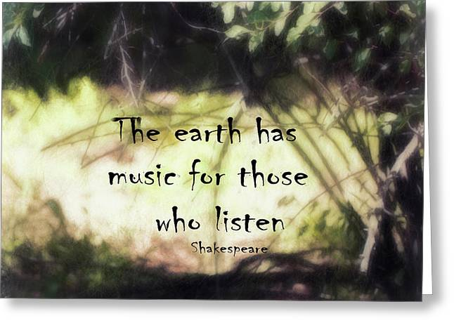 Earth Music Shakespeare Quote Greeting Card by Ann Powell