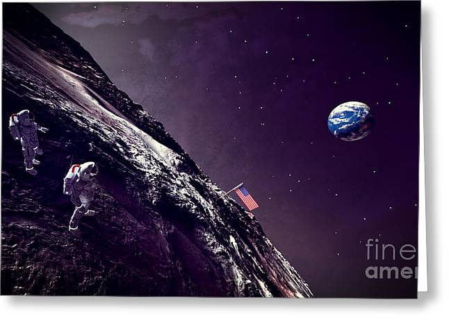 Greeting Card featuring the digital art Earth Rise On The Moon by Methune Hively