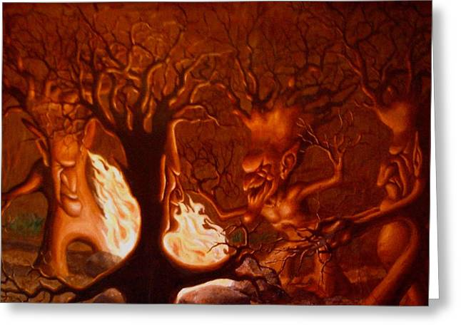 Torment Paintings Greeting Cards - Earth Spirits Greeting Card by Andrew Gardner