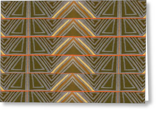 Earth Triangles Greeting Card by Modern Metro Patterns and Textiles