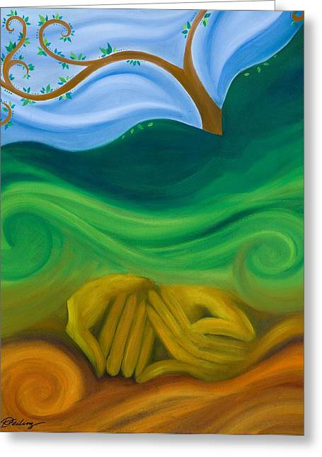 Goddess Birth Art Greeting Cards - Earth Womb Greeting Card by Karen Feiling