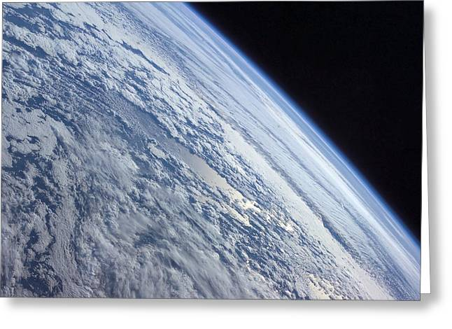 Terra Colors Greeting Cards - Earths Horizon Against The Blackness Greeting Card by Stocktrek Images