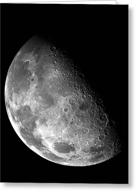 Earth's Moon In Black And White Greeting Card by Jennifer Rondinelli Reilly - Fine Art Photography