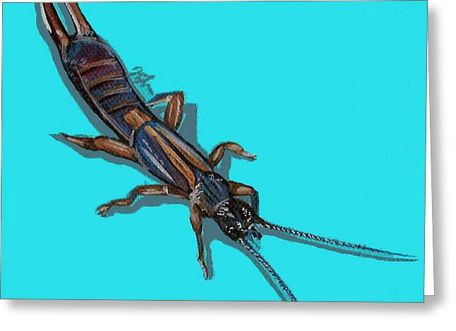 Greeting Card featuring the painting Earwig by Jude Labuszewski