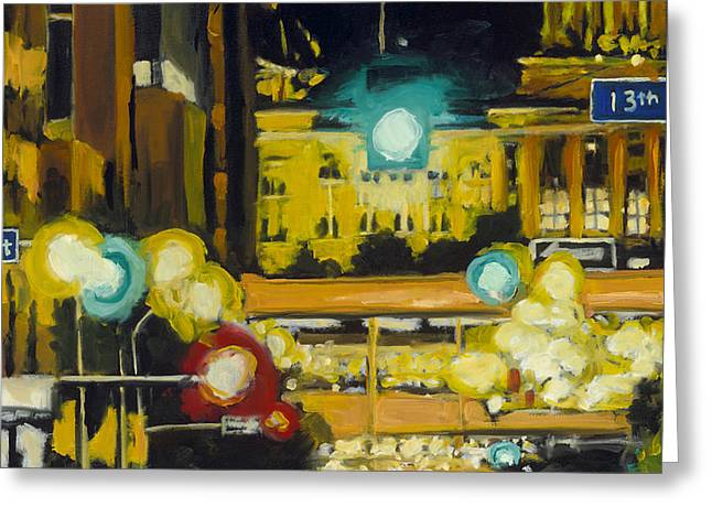 East 13th And Locust St Des Moines Greeting Card by Robert Reeves