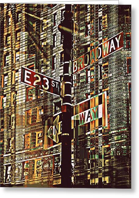 East 23rd And Broadway Greeting Card by Teodoro De La Santa