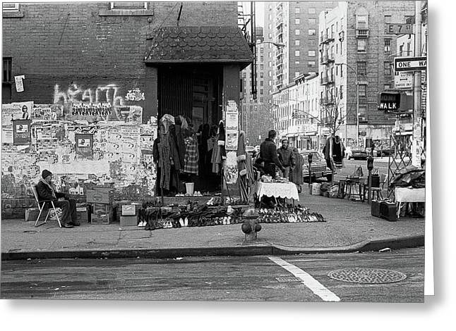 Greeting Card featuring the photograph East 7th Street 1979 by Dave Beckerman