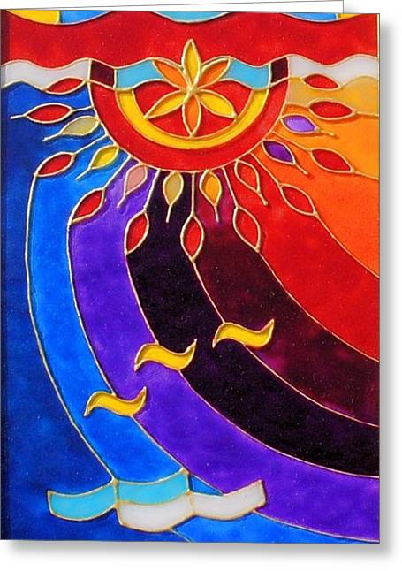Sun Glass Art Greeting Cards - East and West panel West Greeting Card by Danuta Duminica
