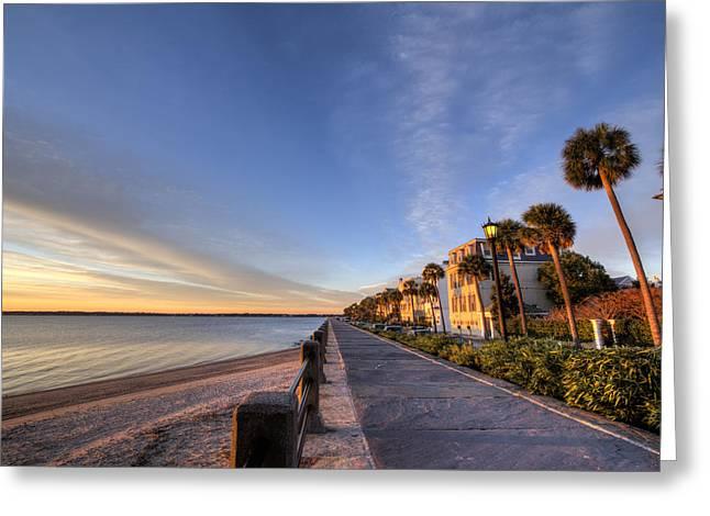 East Battery Row Charleston South Carolina Sunrise Greeting Card by Dustin K Ryan