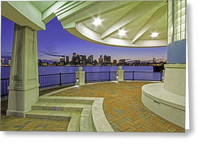 Greeting Card featuring the photograph East Boston Piers Park View Of Boston by Juergen Roth
