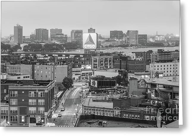 East Cambrdige Boston Skyline Aerial Citgo Sign Photo Greeting Card by Paul Velgos