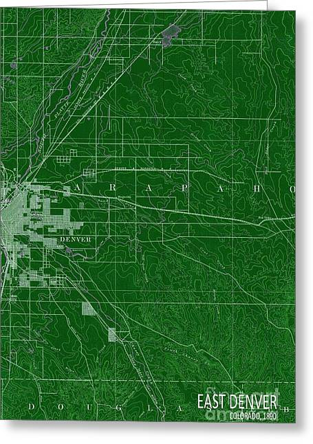 East Denver Old Map 1890 Green Greeting Card by Pablo Franchi