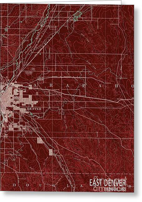 East Denver Old Map 1890 Red Greeting Card by Pablo Franchi