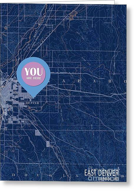 East Denver Old Map You Are Here Greeting Card by Pablo Franchi
