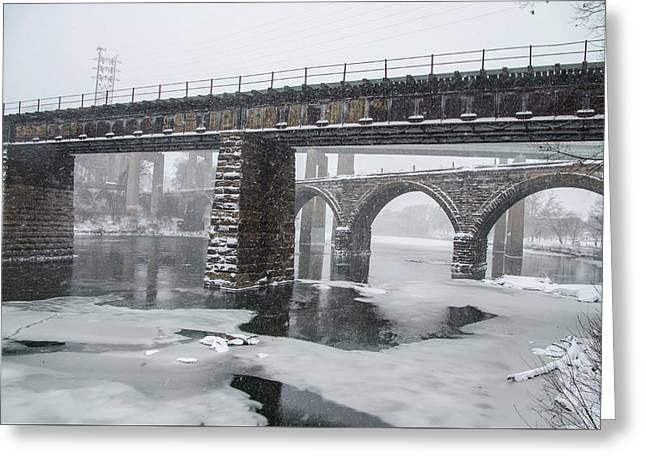 East Falls - The Frozen Schuylkill River Greeting Card by Bill Cannon