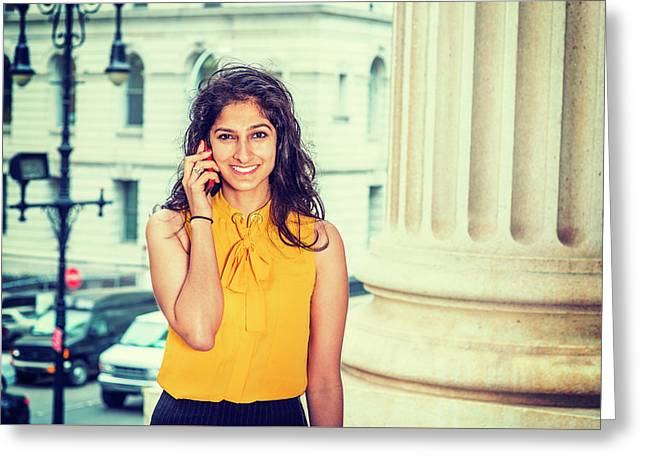 East Indian Woman Calling Outside Greeting Card
