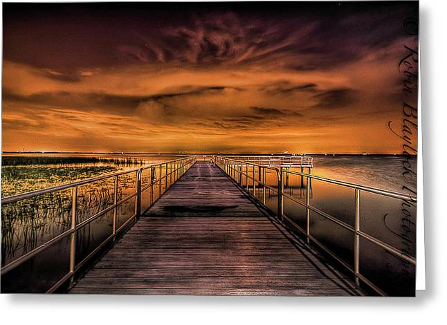 East Lake Pier Topaz Greeting Card