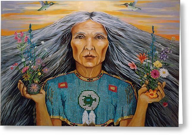 Linda Apple Paintings Greeting Cards - East Greeting Card by Linda Apple