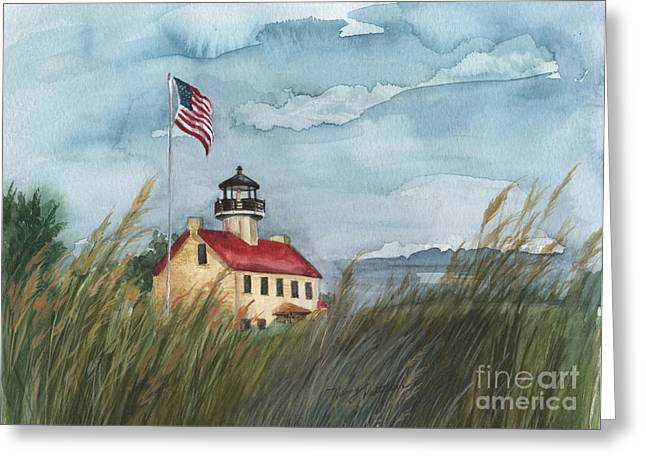 East Point Lighthouse Greeting Card by Nancy Patterson