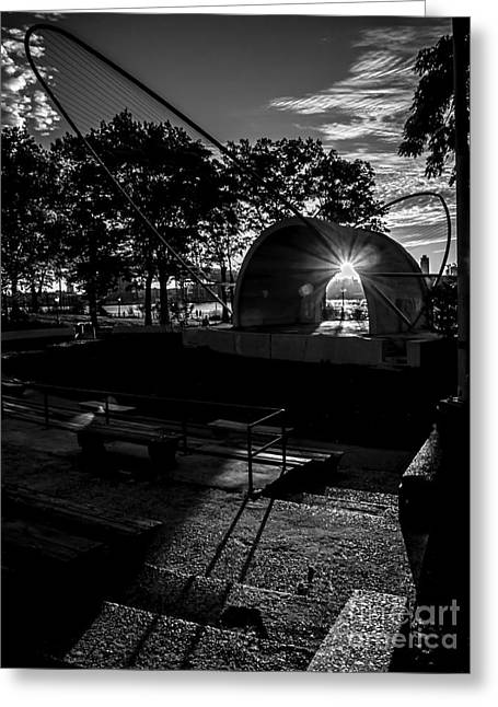 East River Amphitheater - Bw Greeting Card by James Aiken