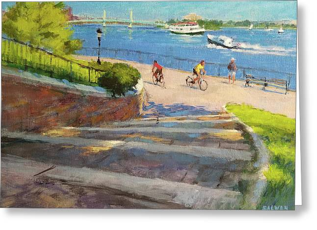 East River From Carl Schurz Park Greeting Card by Peter Salwen