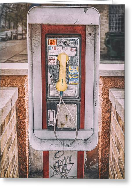 East Side Pay Phone Greeting Card by Scott Norris