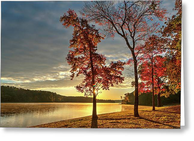 East Texas Autumn Sunrise At The Lake Greeting Card