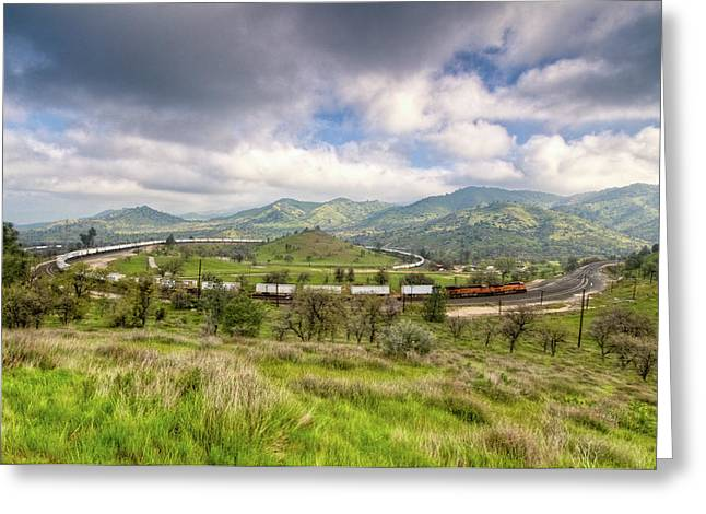 Steel. Grass Greeting Cards - Eastbound Train At the Tehachapi Loop Greeting Card by Connie Cooper-Edwards