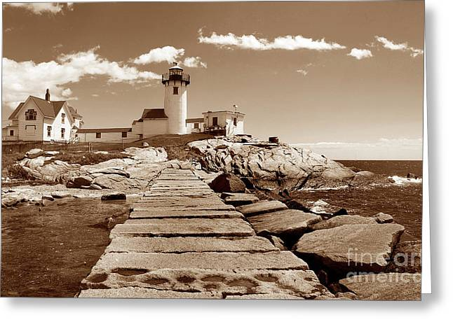 Easten Point Light In Sepia Greeting Card by Skip Willits