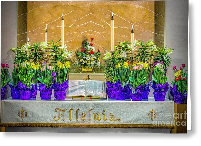 Easter Alter And Flowers Greeting Card by Nick Zelinsky