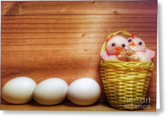 Easter Basket Of Pink Chicks With Eggs Greeting Card
