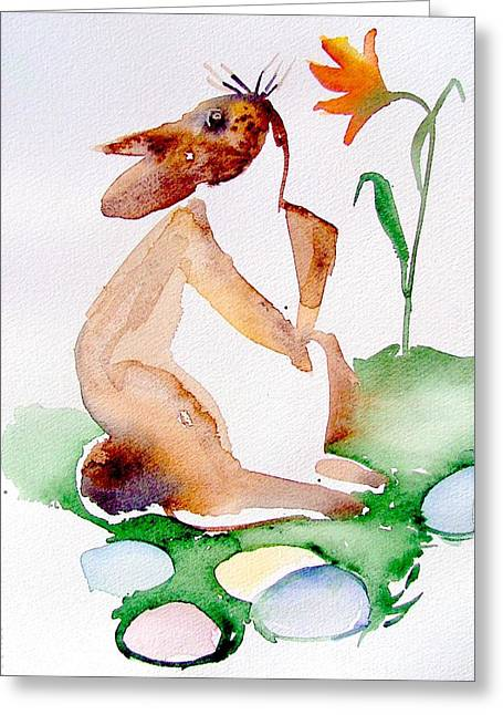 Easter Bunny Greeting Card by Mindy Newman