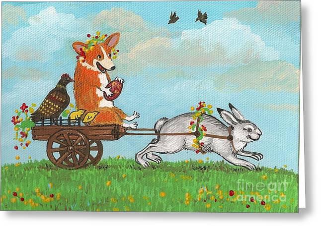 Easter Carriage Greeting Card by Margaryta Yermolayeva