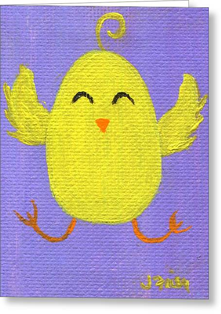 Greeting Card featuring the painting Easter Chicky by Jamie Frier
