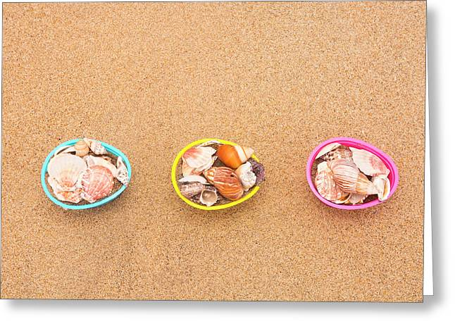 Easter Egg Baskets On Beach Greeting Card
