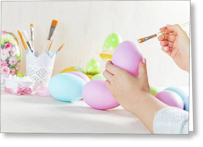 Easter Egg Painting In A Workshop Greeting Card