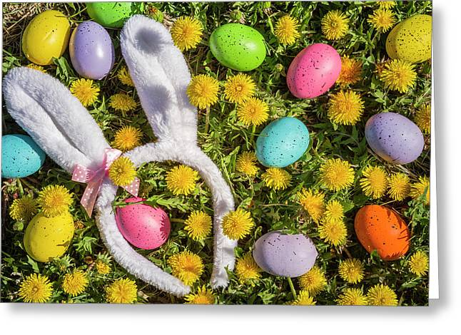 Greeting Card featuring the photograph Easter Eggs And Bunny Ears by Teri Virbickis